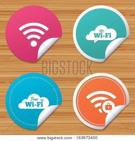 Round stickers or website banners. Free Wifi Wireless Network cloud speech bubble icons. Wi-fi zone locked symbols. Password protected Wi-fi sign. Circle badges with bended corner. Vector