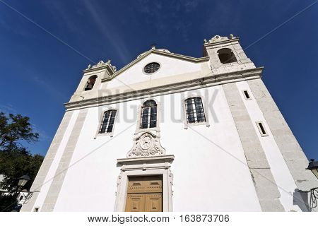 Facade of the 18th century Church of Saint Peter in the parish of Barcarena Portugal