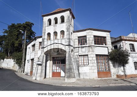 CAXIAS, PORTUGAL - October 26, 2016: Facade of the former Fire Station in Barcarena Portugal