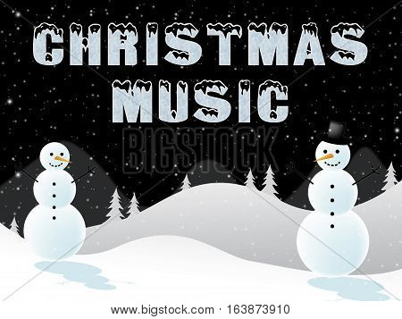 Christmas Music Shows Xmas Songs 3D Illustration