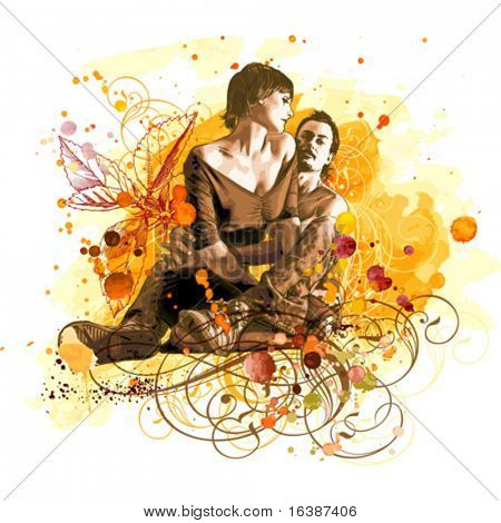 vector watercolor paint: two lovers on grunge background, tropical flowers & vintage floral ornament