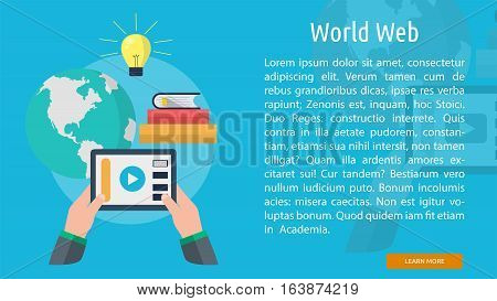 World Web Steaming Conceptual Banner | Great flat icons with style long shadow icon and use for web, development, concept, marketing and much more.