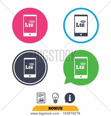 4G LTE sign in smartphone icon. Long-Term evolution sign. Wireless communication technology symbol. Report document, information sign and light bulb icons. Vector