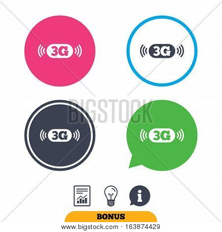 3G sign icon. Mobile telecommunications technology symbol. Report document, information sign and light bulb icons. Vector