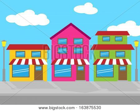 Shops Street Shows Retail Sales 3D Illustration