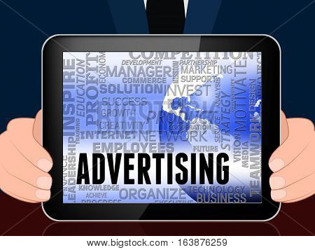 Advertising Word Shows Promote Advertisments 3D Illustration
