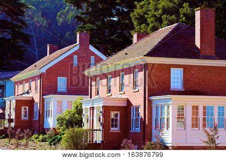 Row of historic brick homes taken at the Presidio in San Francisco, CA