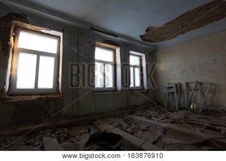 Abandoned old building - reconstruction in haunted house, wide angle