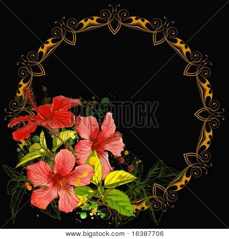 Hibiscus flowers & vintage frame on black background.  Elements on separate layers