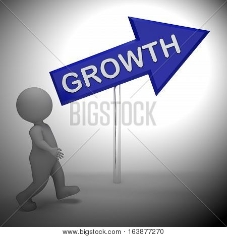 Growth Sign Means Wordclouds Rise 3D Rendering