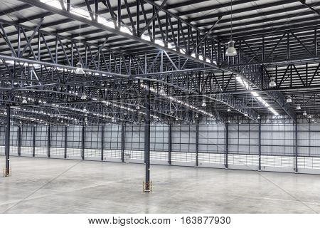 Construction roof of empty modern warehouse for work