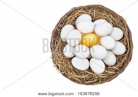 Top view of Golden egg standing out from white eggs on wicker basket with concept of different and uniqueness isolated include path and copy space