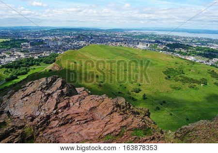 View over Edinburgh from the top of Arthurs Seat.