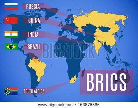 A Schematic Map Of The States Members Of The Brics (brazil, Russia, India, China, South Africa).