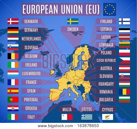 Vector Map Of European Union . The Flags Of The Member State Of The Eu.