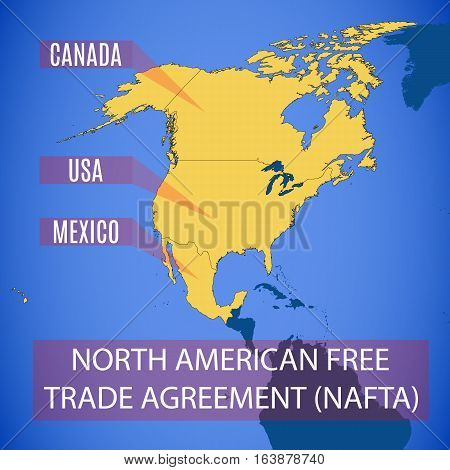 Vector Map Of The North American Free Trade Agreement (nafta).