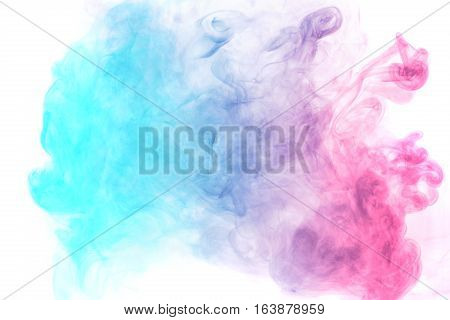 Abstract smoke Weipa. Personal vaporizers fragrant steam. The concept of alternative non-nicotine smoking. Blue magenta vape smoke on a white background. E-cigarette. Evaporator. Taking Close-up. Vaping.
