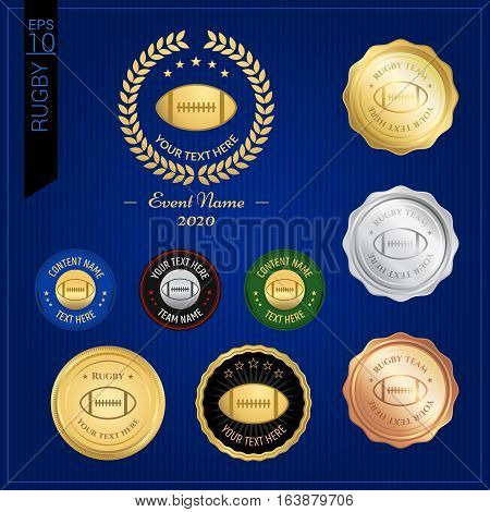 Set of American football or rugby badge label or emblem for sport competition event