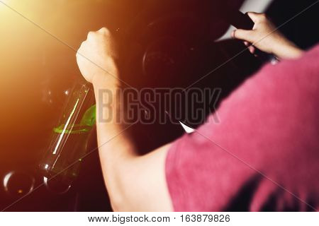 Retro Picture Style Of Drunk Driving Man With Bottle Of Beer, Vintage With Sunlight Effect Image.