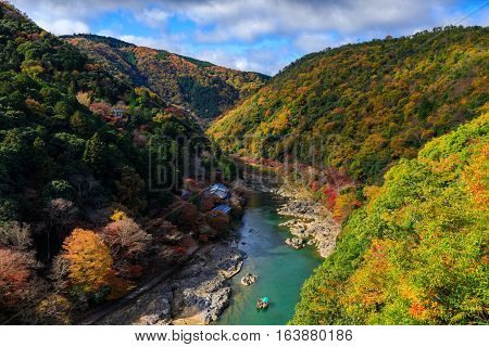 Hozu River in autumn top view from Arashiyama view point Kyoto Japan