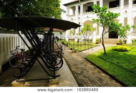 Parking lot for bicycle at Lawang Sewu photo taken in Semarang Indonesia java