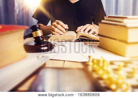 Close Up Business Man Lawyer Working Busy At His Desk, Lawyer Business Job Concept.