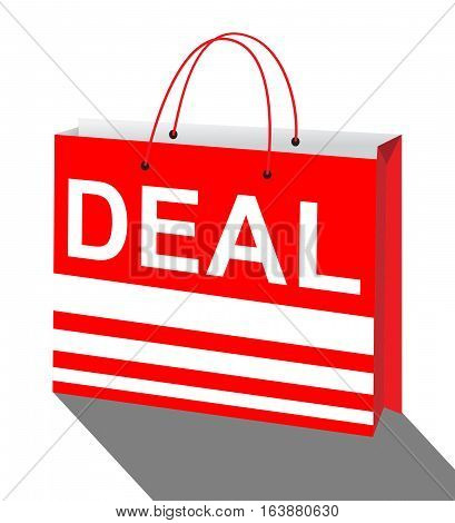 Deal Bag Showing Bargains Discounts 3D Illustration