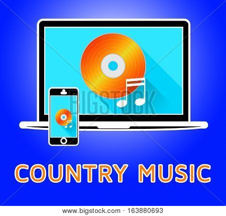 Country Music Represents Sound Tracks 3D Illustration
