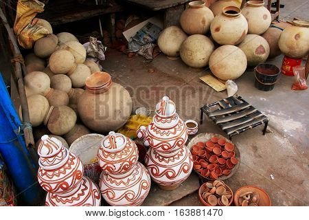 Display Of Pottery, Sadar Market, Jodhpur, India