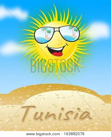 Tunisia Sun Smiling Meaning Sunny 3D Illustration