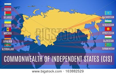 Schematic map of the Commonwealth of Independent States (CIS). Flags of countries-members of CIS. Vector.