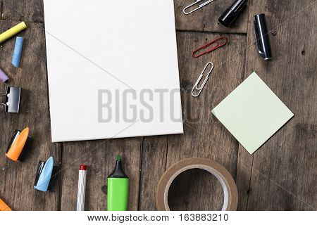 Grunge Wood Desk With Blank Notepaper On It, School Supplies