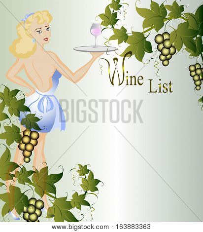 Vignette with grapevine, berries as a waitress in a cotton dress with a tray. EPS10 vector illustration.
