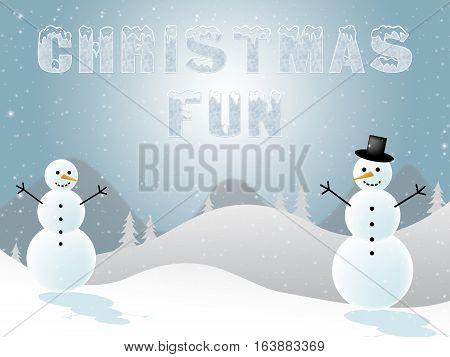 Christmas Fun Shows Joy At Xmas 3D Illustration