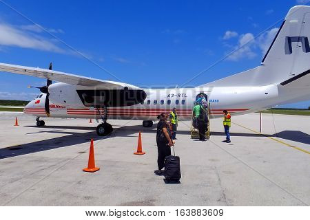 Tongatapu, Tonga - November 13: Realtonga Airplane At Fua'amotu International Airport On November 13
