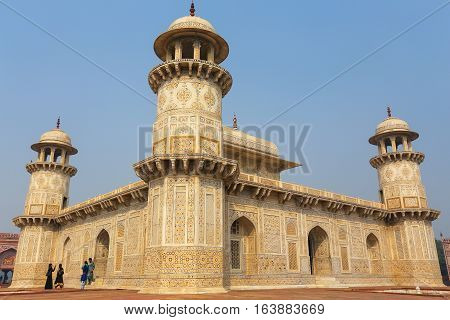 Agra, India - November 6: Unidentified People Walk Out Of Itimad-ud-daulah Tomb On November 6, 2014