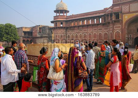 Agra, India-november 7: Unidentified People Stand Outside Jahangiri Mahal In Agra Fort On November 7