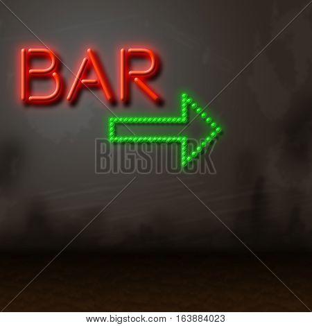 Bar Neon Sign Locates Pub Tavern Or Nightlife