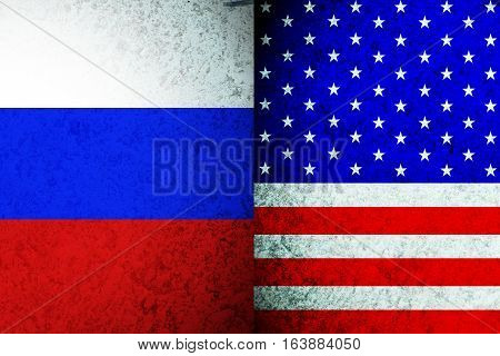 USA VS Russia psychology war . Nation flag background