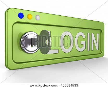 Log In Lock Shows Signin Signing In 3D Illustration