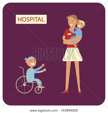 Young woman with sick child. Volunteers help ill kids. Flat style vector illustration isolated.