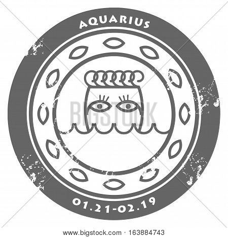 Grunge rubber stamp - sign of the zodiac Aquarius, vector illustration