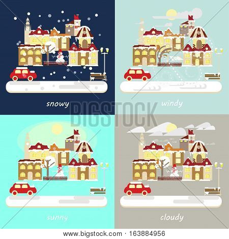 Four types of different winter weather colorful landscape icons - snowfall, windy, cloudy, sunny. Small town landscape in flat style. Vector illustration