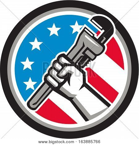 Illustration of a plumber hand holding adjustable pipe wrench in an angled position viewed from the side set inside circle with usa american stars and stripes flag in the background done in retro style.