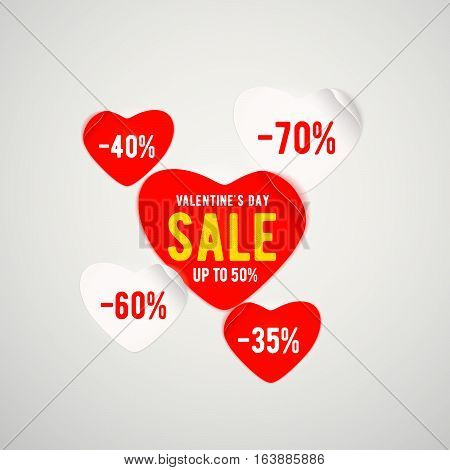 Vector illustration of real red paper heart with text and percent sign isolated on light background for valentines day sale template