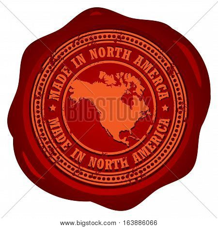 Wax seal with the word Made in North America inside, vector illustration