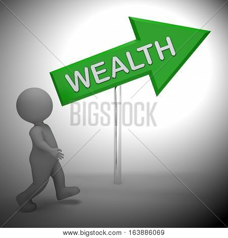 Wealth Sign Showing Rich Abundance 3D Rendering