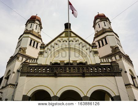 Main gate with two tower dome at Lawang Sewu building photo taken in Semarang Indonesia java