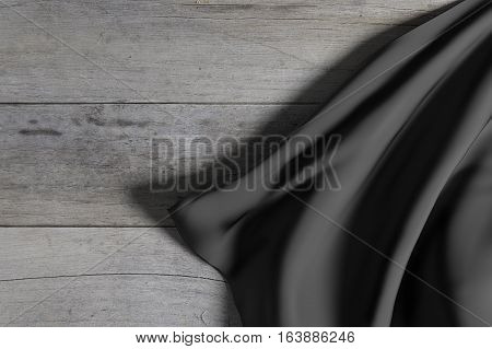 Dark Silk Cloth On Wooden Floor