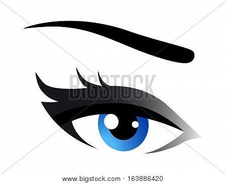 beautiful blue woman eye with eyelashes on white background